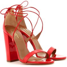 Aquazzura Lily 105 Patent Leather Sandals ($605) ❤ liked on Polyvore featuring shoes, sandals, heels, aquazzura, red, heeled sandals, patent shoes, patent leather sandals and red patent shoes