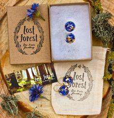 Image of Blue Cornflower & Gold Leaf Eco Resin Earrings