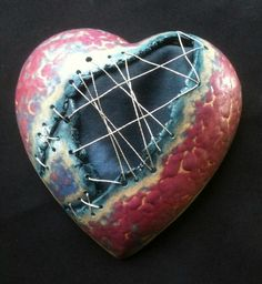 Heart wall plaque ceramic stiched with wire pink by HereNorTherey Three Dimensional, Artist At Work, Pottery, Art Event, Ceramics, Collaborative Art, Artist