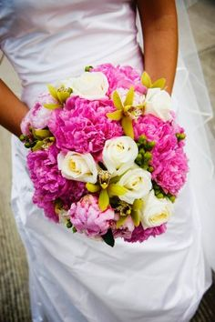 Wedding Flowers By Conner Park.  Peonies, Orchids, and Roses.