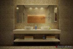 interior 48i by Zorrodesign - pod umywalkami moze być wisząca szafka, zeby było funkcjonalnie