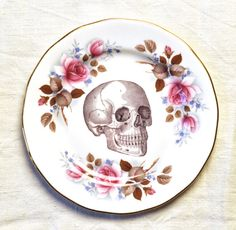 Skull with pink roses blue flowers  Vintage China Tea Plate for wall art decorative display