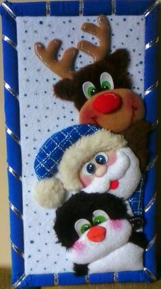 TRIPTICOS NINGUNO ES IGUAL Blue Christmas Decor, Felt Christmas, Christmas Decorations To Make, Christmas Crafts, Xmas, Christmas Ornaments, Holiday Decor, Felt Dolls, Scrap