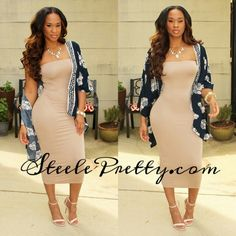 New Item Alert: Taupe tube dress and loose Cato cover up now available at SteelePretty.com.
