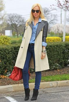 leather sleeve trench