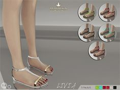 Madlen Livia Sandals New flat sandals for your sim! Come in 6 colors (patent leather texture). Mesh is completely new, made by myself and low poly. Joints are perfectly assigned. All LODs are replaced...