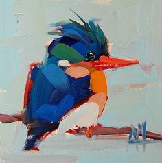 Malachite Kingfisher original bird oil painting by Angela Moulton 5 x 5 inch on panel