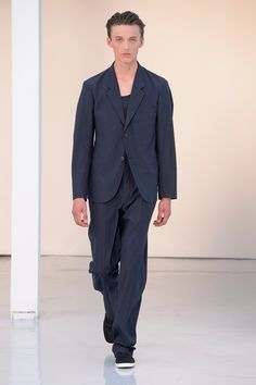 22. Soft jacket and large pants in water-repellent wool-cotton, tank top soft cotton jersey, slip-on in cotton denim #lemaire