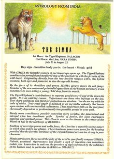 Zodiac Unlimited Indian astrology postcard: The Simha
