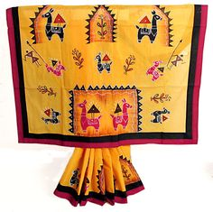 Hand Painted and Appliqued Horse on Yellow Saree with Red and Black Border