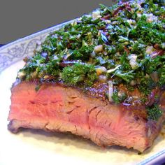 One Perfect Bite: London Broil with Garlic and Parsley Sauce - used this for the prep of the london broil - really good and tender Pork Recipes, Cooking Recipes, Healthy Recipes, Sauce Recipes, Lunch Recipes, Cooking Tips, I Love Food, Good Food, Yummy Food