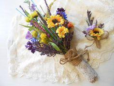 Silk Wildflower Bridesmaid Bouquet. Daisy by FantasyWedding