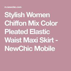 Stylish Women Chiffon Mix Color Pleated Elastic Waist Maxi Skirt - NewChic Mobile