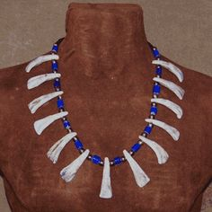 Native American Buffalo Tooth Necklace with genuine buffalo teeth strung with large Brass Beads and blue European Trade Beads. Native American Jewellery, Native American Crafts, Native American Beading, Native American Fashion, Lost River, Tooth Necklace, Bear Claws, Beaded Necklaces, Blue Beads