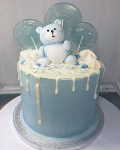 #bluedripcake  #babyshower #babyshowercake  #babyboy Blue Drip Cake, Drip Cakes, Baby Shower Cakes, Babyshower, Birthday Cake, Desserts, Food, Cakes Baby Showers, Tailgate Desserts