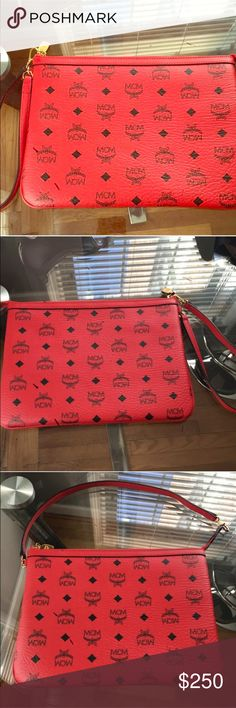 MCM Cherry Red Clutch/ Shoulder Bag NWOT Mcm Cherry Red Wristlet. Can also be used as a shoulder bag. Never worn. Nwot.  Purchased in Neiman Marcus.  Wristlet only MCM Bags Clutches & Wristlets