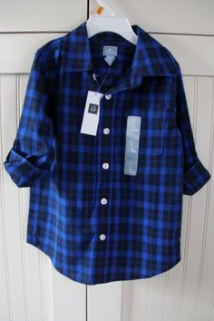 NWT-Baby-GAP-Size-4T-Boys-Plaid-Blue-Button-Fold-over-Long-Sleeve-Dress-Shirt