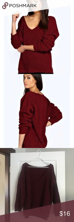 Oversized Burgundy Sweater Oversized sweater in wine color. Brand new, never worn. Perfect condition. Size is S/M. Boohoo Sweaters V-Necks