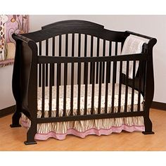 Stork Craft Valentia Fixed Side Convertible Crib, Black  http://www.babystoreshop.com/stork-craft-valentia-fixed-side-convertible-crib-black/