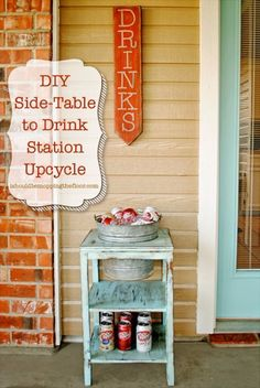 Best Country Decor Ideas for Your Porch - DIY Drink Station - Rustic Farmhouse Decor Tutorials and Easy Vintage Shabby Chic Home Decor for Kitchen, Living Room and Bathroom - Creative Country Crafts, Furniture, Patio Decor and Rustic Wall Art and Accessories to Make and Sell http://diyjoy.com/country-decor-ideas-porchs #BestandSmartdiyrustic #porchfurnitureideas #rusticbathroomideas