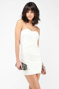 In a Ruche Strapless Dress in White $48 at www.tobi.com