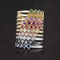 Melissa Kaye Jewelry Margo rings in 18k gold with diamonds, yellow gold, white gold, pink gold, black gold, sapphire & ruby tsavorite.