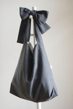 【new】リボンのバッグ(グレー)