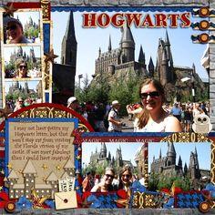 Hogwarts, harry potter scrapbook layout - inspiration for platform 9 Travel Scrapbook Pages, Vacation Scrapbook, Scrapbook Page Layouts, Scrapbook Cards, Scrapbooking Ideas, Harry Potter Scrapbook, Bridal Shower Scrapbook, Universal Studios Florida, Universal Orlando