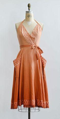 vintage 1970s ombre dyed cotton wrap dress