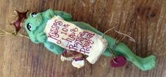 Christmas Ornament Figural Frog with Crown Kisses 10 Cents Have Prince Potential