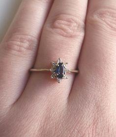 14k Yellow Gold Blue Sapphire and Diamond by SamuelsonsDiamonds