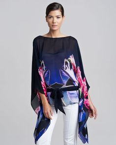 Classic Caftan Top, Red/Navy by Roberto Cavalli at Neiman Marcus.
