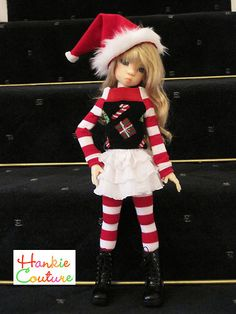 Christmas outfit for MSD-size dolls by Kaye Wiggs ♡ dolls Layla, Nyssa, Miki, Anabella ♡ http://hankiecouture.com ♡ #hankiecouture 2013