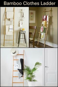 Learn how to make a rustic bamboo ladder for hanging clothes and towels! Hanging Clothes, Hanging Towels, Ladder Hanger, Ladder Decor, Master Suite Bedroom, Home Bedroom, Bamboo Ladders, Old Ladder, Recycled Furniture