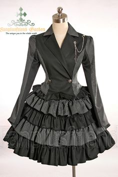 Google Image Result for http://fanchaos.com/fanplusfriend/c1/Gothic_Lolita_Stripes_Jacket%26Skirt_2Pcs_CT00092_01.jpg