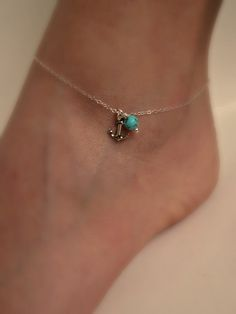 Silver Anchor Anklet with Turquoise Delicate by vintagestampjewels, $17.50
