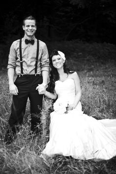 old fashioned wedding pic...i love her hair, and his bowtie!