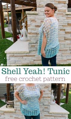 Imaginative Halloween Costumes - The Best Way To Be Artistic With A Budget This Lightweight, Breezy Tunic Crochet Pattern Is Perfect For Pairing With A Tank Top When Beating The Summer Heat. The Shell Yeah Tunic Is A Free Pattern T-shirt Au Crochet, Beau Crochet, Crochet Tunic Pattern, Poncho Au Crochet, Pull Crochet, Mode Crochet, Crochet Shirt, Crochet Woman, Crochet Patterns