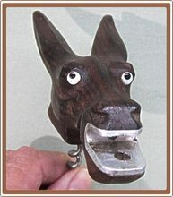 Donkey Mule Corkscrew Figural Carved Wood Glass Eyes