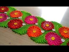 How to make easy and simple/unique border rangoli designs by Jyoti Ratho. Rangoli Designs Latest, Simple Rangoli Designs Images, Rangoli Designs Flower, Rangoli Border Designs, Colorful Rangoli Designs, Rangoli Designs Diwali, Flower Rangoli, Beautiful Rangoli Designs, Kolam Designs