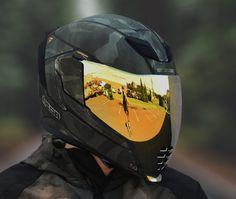 Icon, folding helmet, Airflite Battlescar in green Motorcycle Helmet Design, Futuristic Motorcycle, Motorcycle Gear, Custom Helmets, Custom Bikes, Cb 1000, E Skate, Full Face Helmets, Cool Motorcycles
