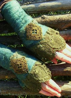 Forest Vintage Lace Faerie Cuffs. via Etsy.: