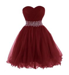 Queensroyal Short Strapless Beaded Sash Prom Dresses Ball Gowns US-14 Burgundy