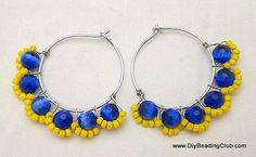 DIY Blue Daisy Hoops Earrings Wire Jewelry Making Tutorial