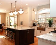 Kitchen Design, Contemporary Kitchen With Granite That Looks Like Marble For Kitchen Island And Kitchen Table Countertops Also Charming Pend...