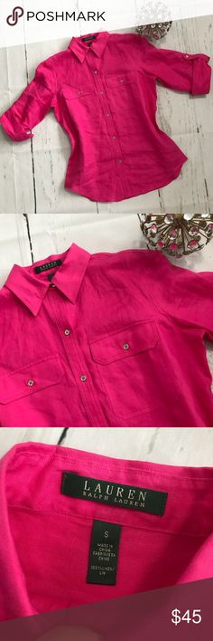Ralph Lauren 100% Linen Button Down Shirt NWOT This Ralph Lauren Button Down Shirt is beautiful and NWOT, this is 100% Linen and looks beautiful. See pictures ☝🏻 •100% Linen •Size S •Color Pink •Short Sleeves  🚫No Trades 🚫  📦 Fast Shipping 📦 💵 Open to Offers 💵  💕 Willing to Bundle 💕 ➵ Pet free home 🐶 ➵ Smoke free home 🚬 🌸Always Shipped the same or next day🌸 Ralph Lauren Tops Button Down Shirts