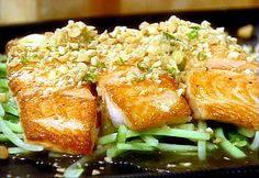Pan-Seared Salmon with Ginger-Lime Sauce and Peanuts from FoodNetwork.com