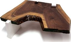 Sentient Live Edge Coffee Table with White Gloss Laminate Legs | 2Modern Furniture & Lighting