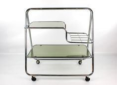 1970 s chrome and glass drinks trolley. Modernist. Space age design. Pieff era