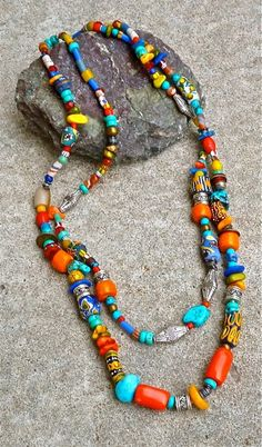 DOUBLE Strand NECKLACE   African Trade by TheJoyMoosCollection, $210.00